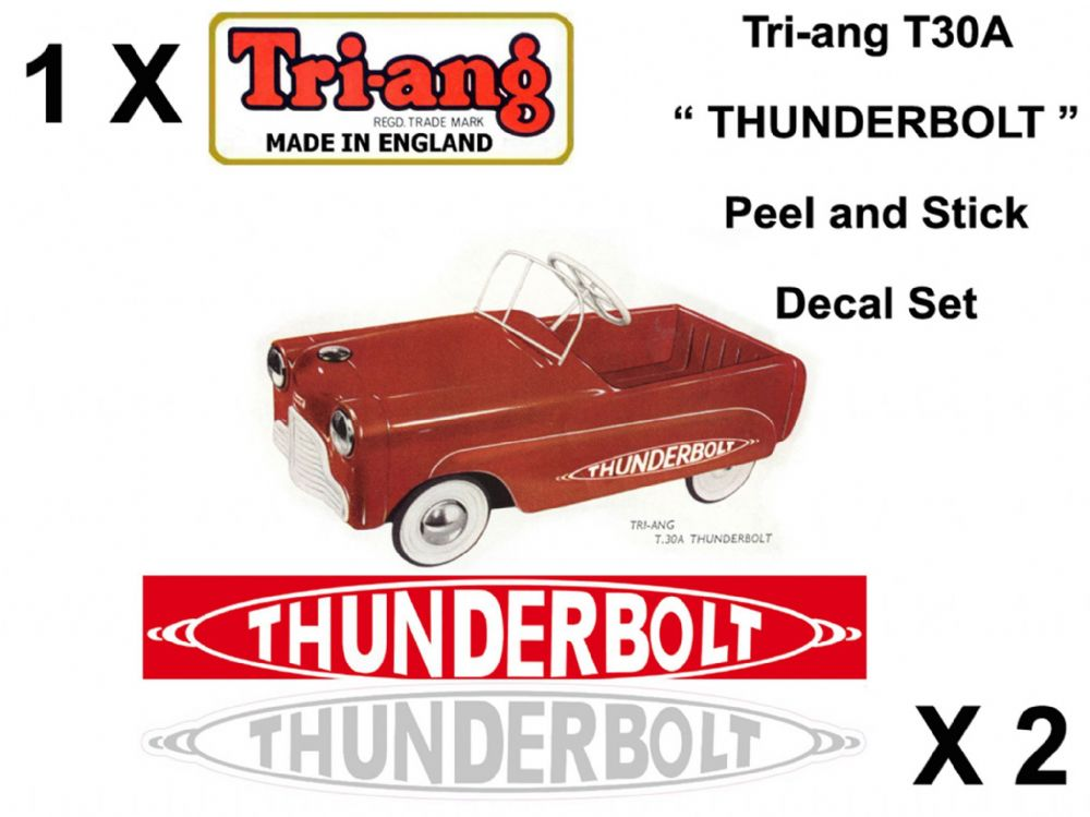 "Set decals "" Peel and stick "" for the Tri-ang T30A "" Thunderbolt "" Pedal Car"